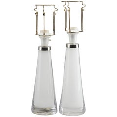 Pair of Orrefors White and Chrome Glass Table Lamps, Shades to Be Provided