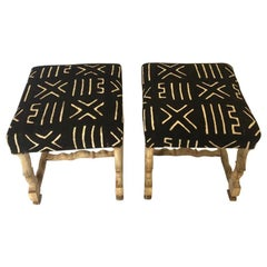 Pair of Os De Mouton Stools Bleached Oak, Upholstered in African Mudcloth