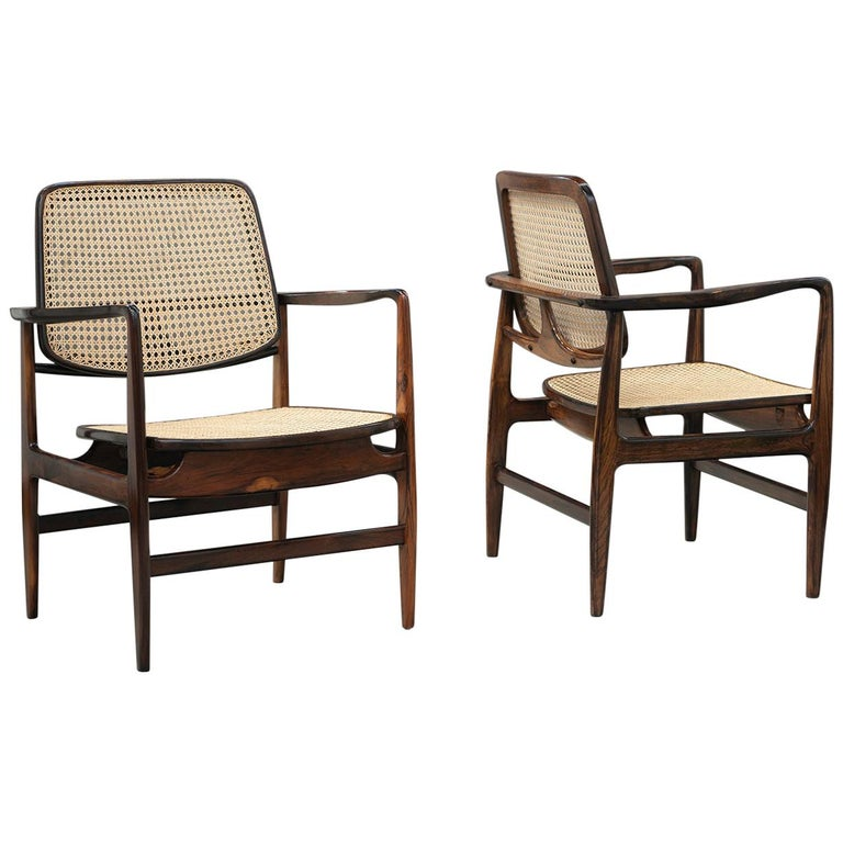 "Pair of ""Oscar"" Armchairs by Sergio Rodrigues, Brazilian Midcentury Design For Sale"