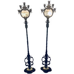 Pair of Oscar Bach Style Five Light Standing Double Reverse Candelabra Lamps