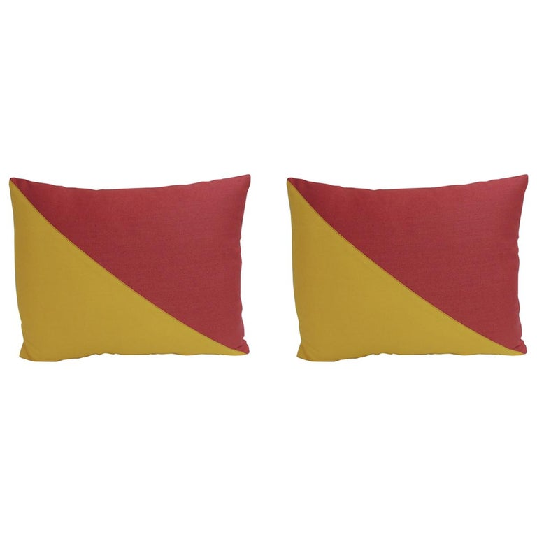 "Pair of ""Oscar"" Yellow and Red Nautical Flag Inspired Square Decorative Pillows For Sale"