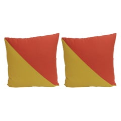 "Pair of ""Oscar"" Yellow & Orange Nautical Flag Inspired Square Decorative Pillows"
