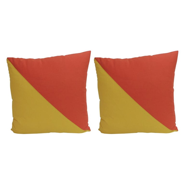 "Pair of ""Oscar"" Yellow & Orange Nautical Flag Inspired Square Decorative Pillows For Sale"