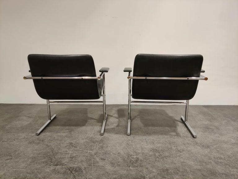 Belgian Pair of Oslo Lounge Chairs by Rudi Verelst, 1970s