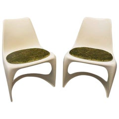 Pair of Ostergaard Steen Plastic White Chairs, 1970