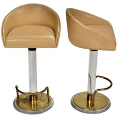 Pair of Ostrich Leather and Lucite Swivel Bar Stools by Lion in Frost, Signed