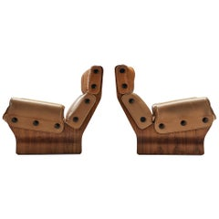 Pair of Osvaldo Borsani 'Canada' Lounge Chair in Two-Tone Leather