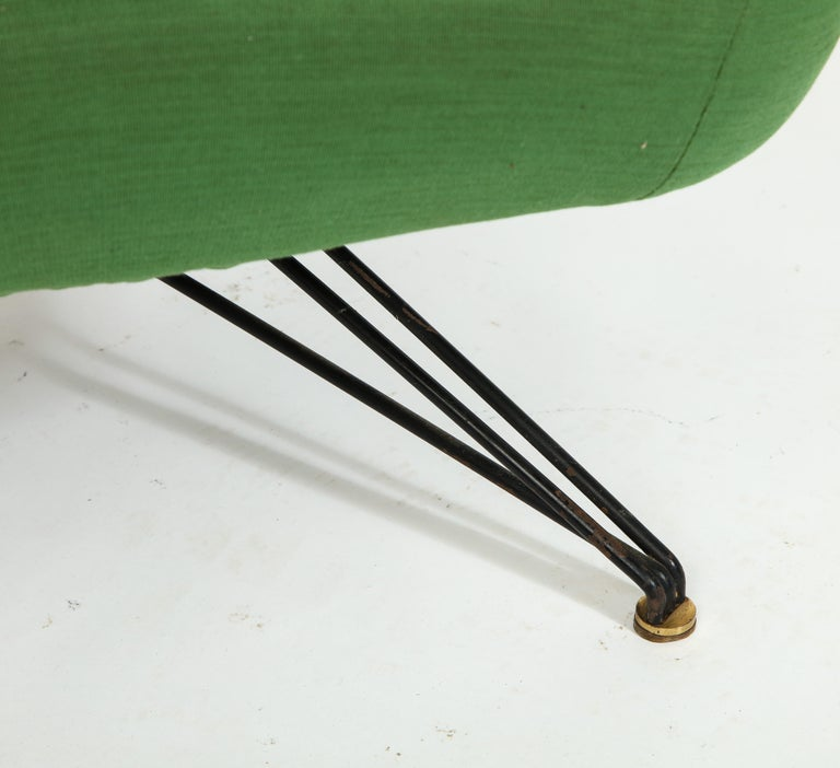 Brass Pair of Osvaldo Borsani Green P32 Chairs for Tecno, Italy, 1950s For Sale
