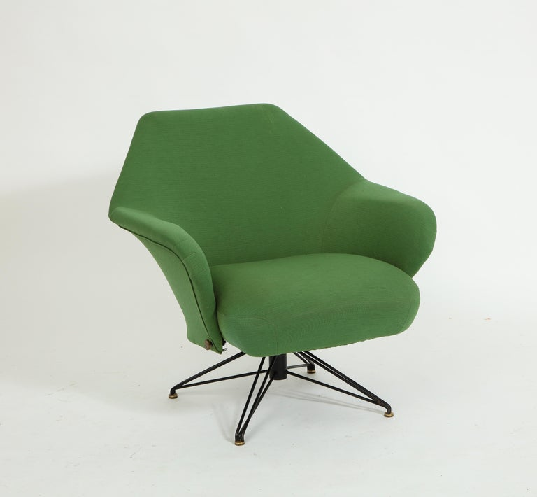 Pair of Osvaldo Borsani Green P32 Chairs for Tecno, Italy, 1950s For Sale 1
