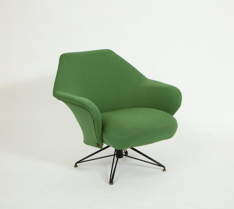 Pair of Osvaldo Borsani Green P32 Chairs for Tecno, Italy, 1950s For Sale 2