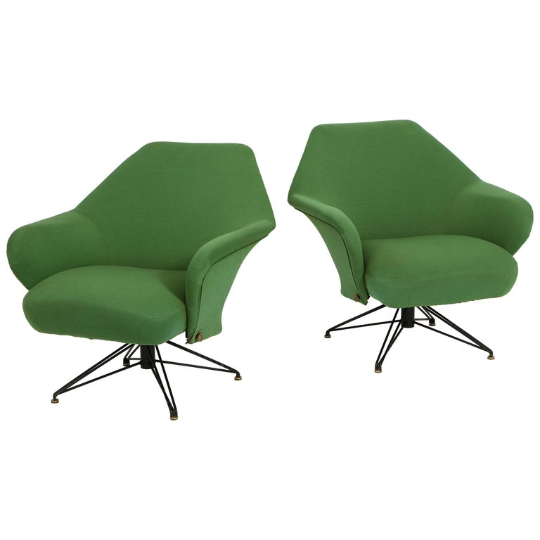 Pair of Osvaldo Borsani Green P32 Chairs for Tecno, Italy, 1950s For Sale