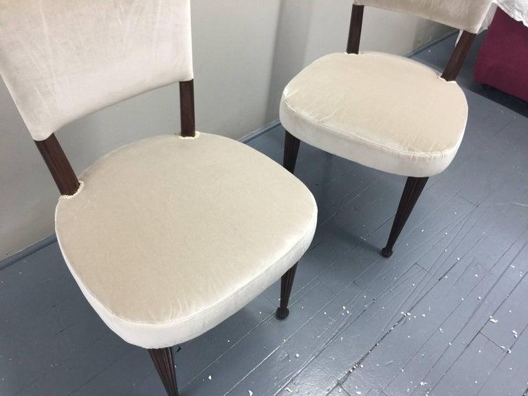 Osvaldo Borsani Chairs, Italy, 1950, new Velvet, Rosewood For Sale 4