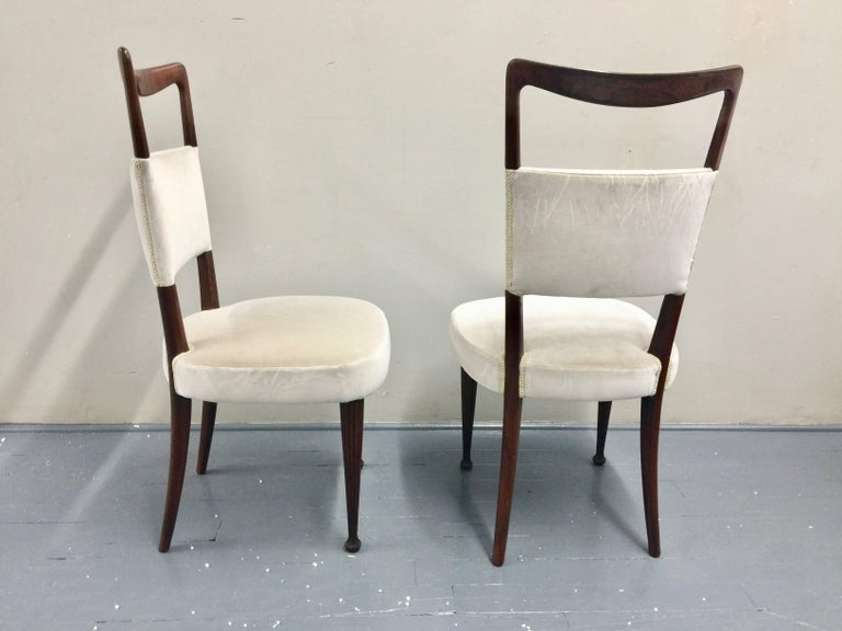 Osvaldo Borsani Chairs, Italy, 1950, new Velvet, Rosewood For Sale 5