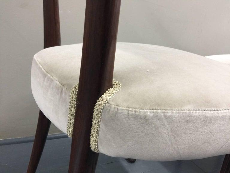 Osvaldo Borsani Chairs, Italy, 1950, new Velvet, Rosewood For Sale 7