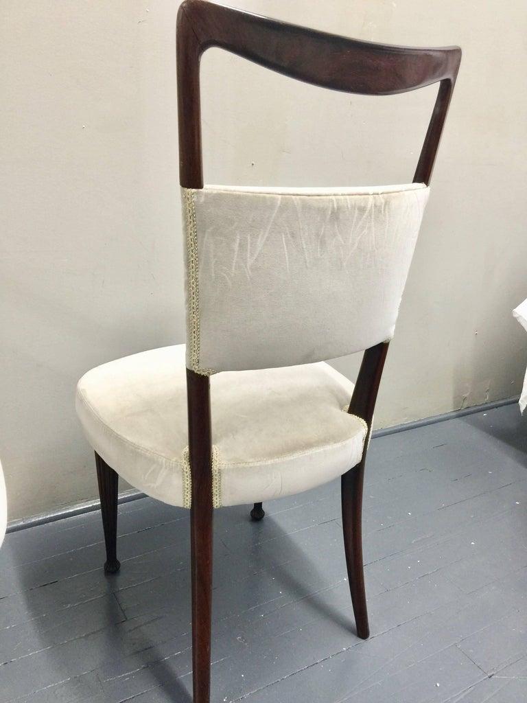 Osvaldo Borsani Chairs, Italy, 1950, new Velvet, Rosewood For Sale 8