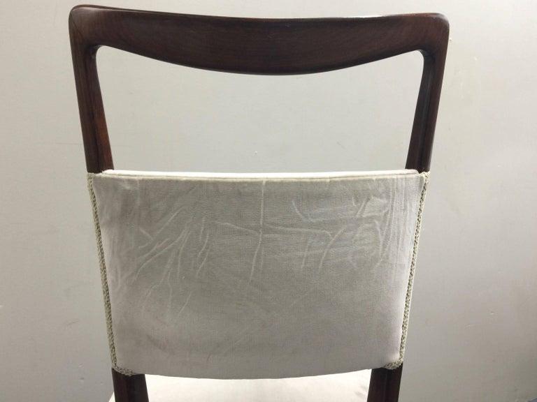 Osvaldo Borsani Chairs, Italy, 1950, new Velvet, Rosewood For Sale 9