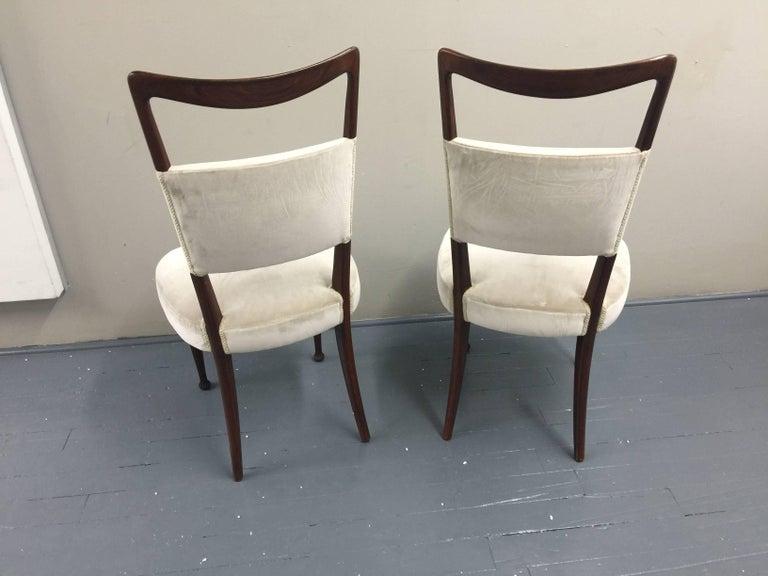 Osvaldo Borsani Chairs, Italy, 1950, new Velvet, Rosewood For Sale 13