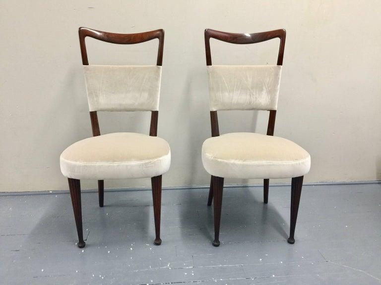 Mid-Century Modern Osvaldo Borsani Chairs, Italy, 1950, new Velvet, Rosewood For Sale