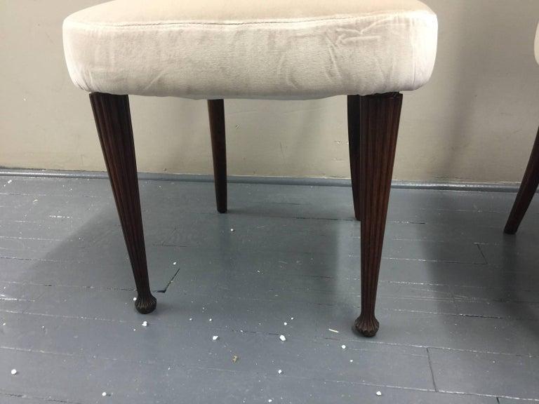 Osvaldo Borsani Chairs, Italy, 1950, new Velvet, Rosewood In Good Condition For Sale In Jersey City, NJ