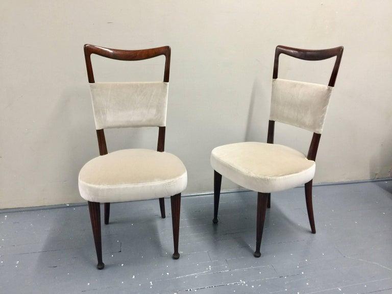 Osvaldo Borsani Chairs, Italy, 1950, new Velvet, Rosewood For Sale 3