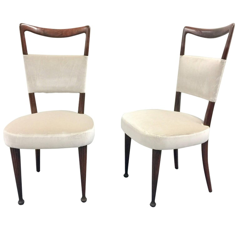 Set of four Osvaldo Borsani rosewood and velvet dining chairs, 1950s restored