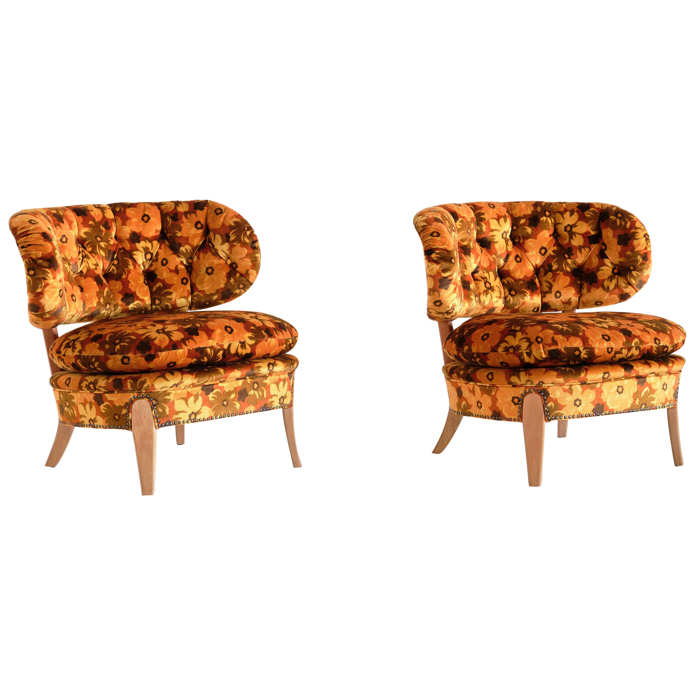 Pair of Otto Schulz Lounge Chairs in Floral Velvet and Beech, Sweden, 1940s