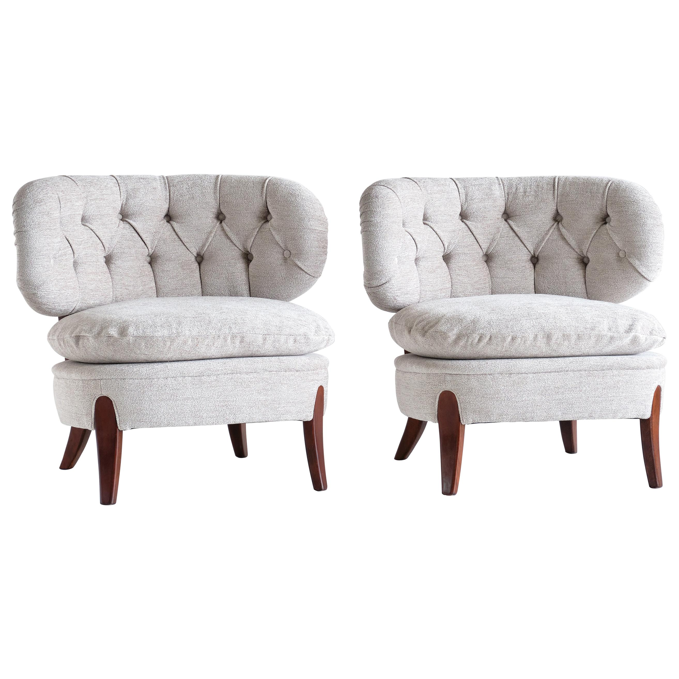 Pair of Otto Schulz Lounge Chairs in Gray Chenille and Beech, Sweden, 1940s