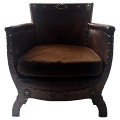Otto Schulz  Swedish Nail Head 1930s Leather club chairs