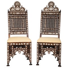 Pair of Ottoman Empire Mother-of-Pearl Inlaid Side Chairs