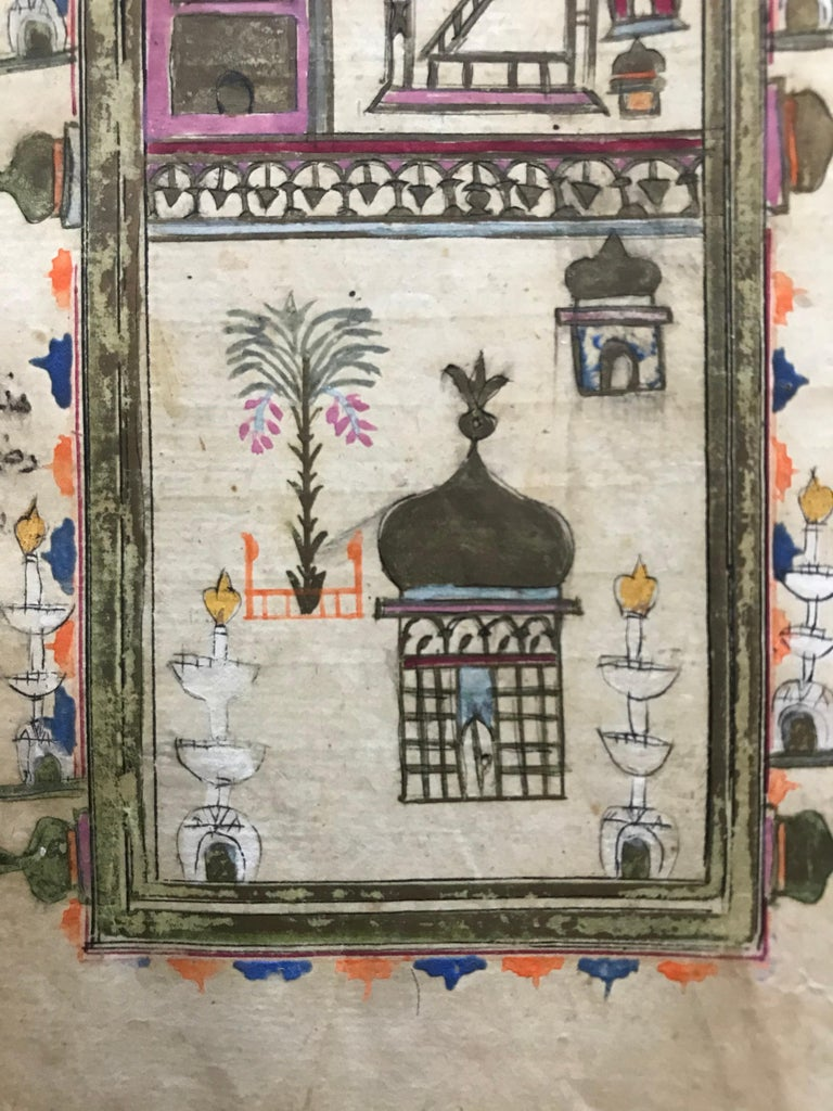 Paper Pair of Ottoman Prayer Book Leaves of Mecca and Medina, 18th Century For Sale