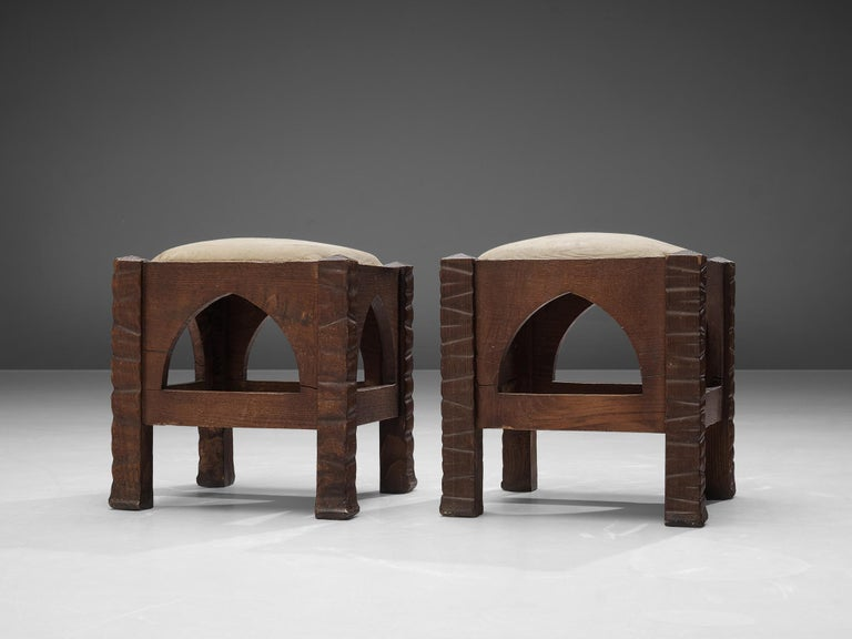 Art Deco Pair of Ottomans in Oak by Ernesto Valabrega For Sale
