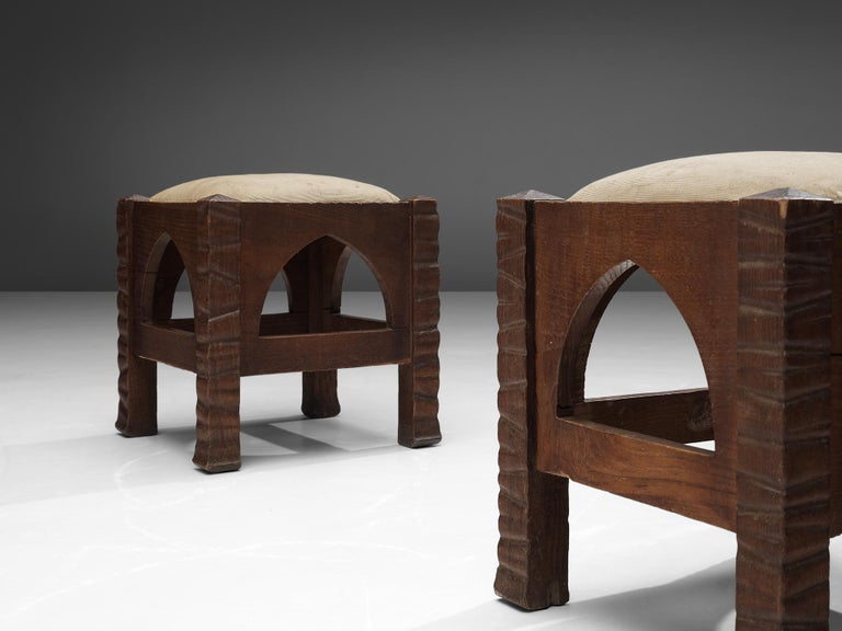 Italian Pair of Ottomans in Oak by Ernesto Valabrega For Sale