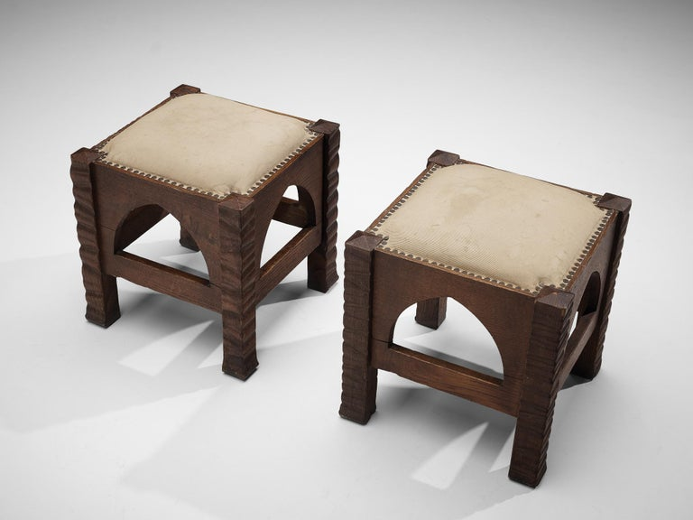Mid-20th Century Pair of Ottomans in Oak by Ernesto Valabrega For Sale