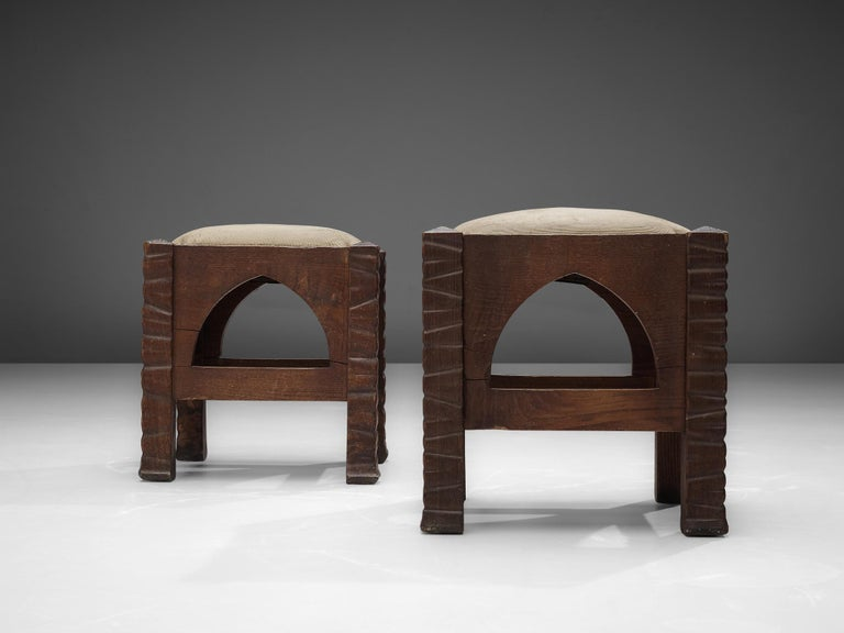 Metal Pair of Ottomans in Oak by Ernesto Valabrega For Sale