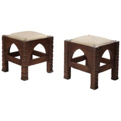 Pair of Ottomans in Oak by Ernesto Valabrega