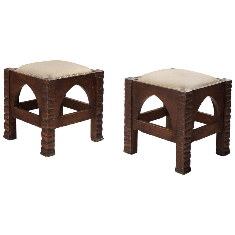 Pair of Ottomans in Oak by Ernesto Valabrega For Sale