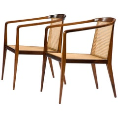 Pair of Lounge Chairs in Caviona Wood with Cane Seat & Back by John Graz, 1960s
