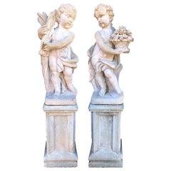 Pair of Outdoor Cement Garden Cherub Statues