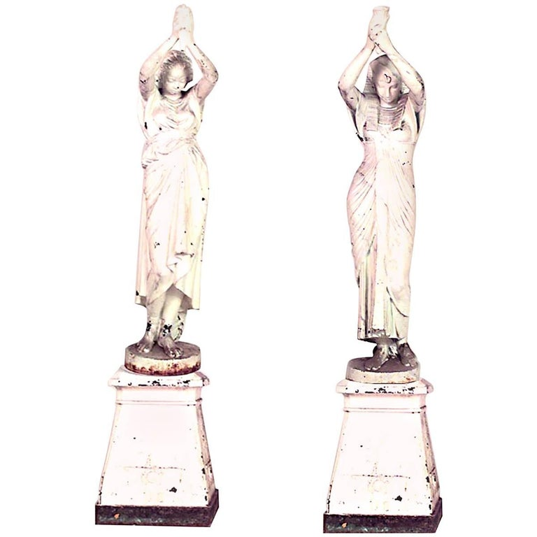 Pair of Outdoor French Egyptian Revival Style Cast Iron Nubian Women For Sale