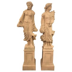 Pair of Outdoor or Indoor Standing Female Rococo Statues