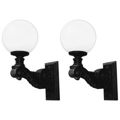 Pair of Outdoor Iron Sconces