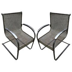 Pair of Outdoor Metal Armchairs