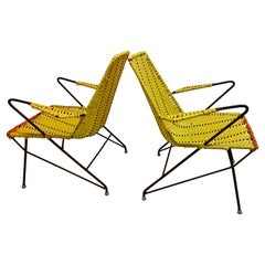 Pair of Outdoor Mexican Iron and PVC Loung Chairs