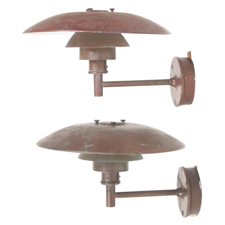 Pair of Outdoor Wall Lamps in Patinated Copper by Poul Henningsen, 1960s