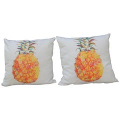 Pair of Outdoors/Indoors Yellow and Green Pineapple Decorative Pillows