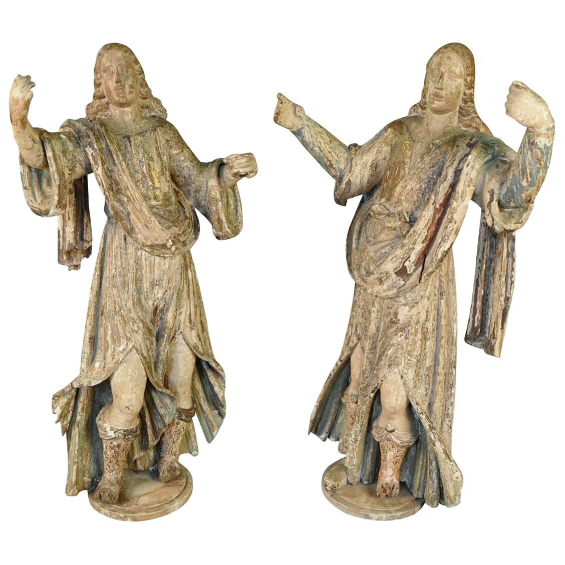 Pair of Outstanding 17th Century Italian Polychromed Musician Statues