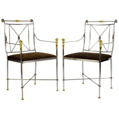 Pair of Outstanding Italian Steel and Brass Armchairs, 1970s