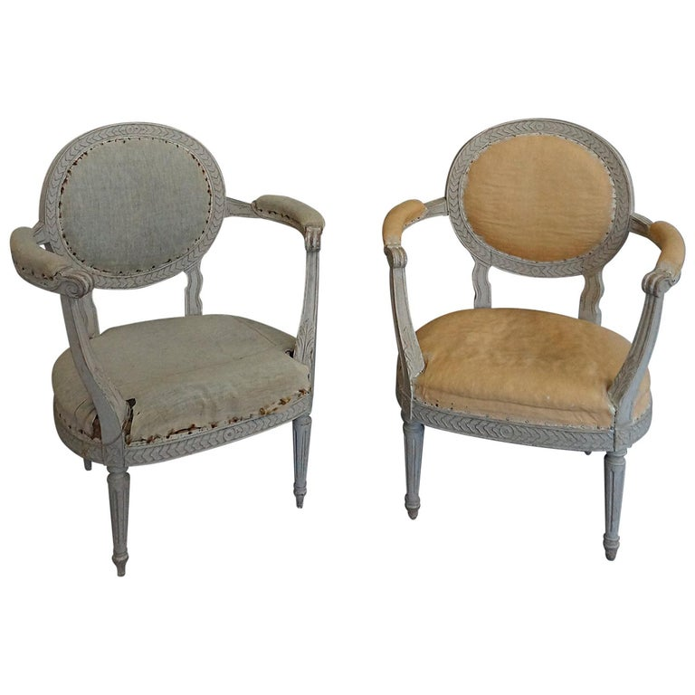 Pair of Oval Backed Swedish Armchairs For Sale