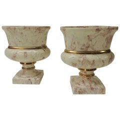 Zwei Ovale Kunst Marbleize Vintage Pinke Vasen oder Urnen