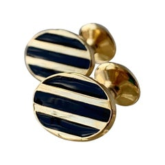 Oval Cufflinks with Bands of High Fired Black Enamel- Gold Filled